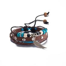 Punk Jewelry Wrap pulseira masculina Leather Copper Angel Wing pendant Wooden Beads Charm Bracelet & Bangle Wristband Cuff Women