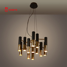 modern black and gold metal aluminum tube chandelier lighting Italy design led chandeliers art deco hanging  light fixtures