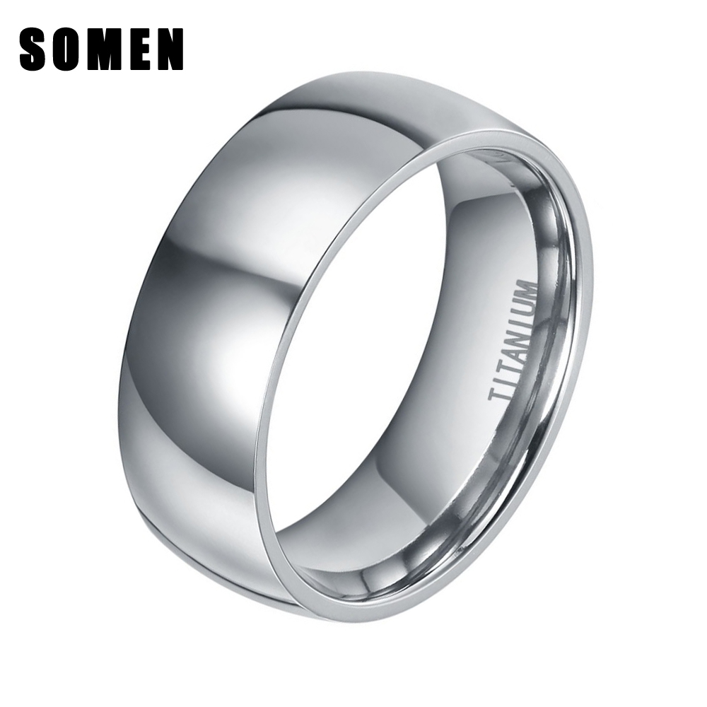 8mm Design Abobadado Clássico dos homens de Prata Anel de Titânio Anel de Casamento de Alta Polido Moda Homens Jóias Conforto Fit anel masculino