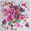 Grey Pink Silk Scarf  Female Apparel Accessories Rose Pattern Ladies Scarves Wraps 100% Pure Silk Twill Satin Square Scarves