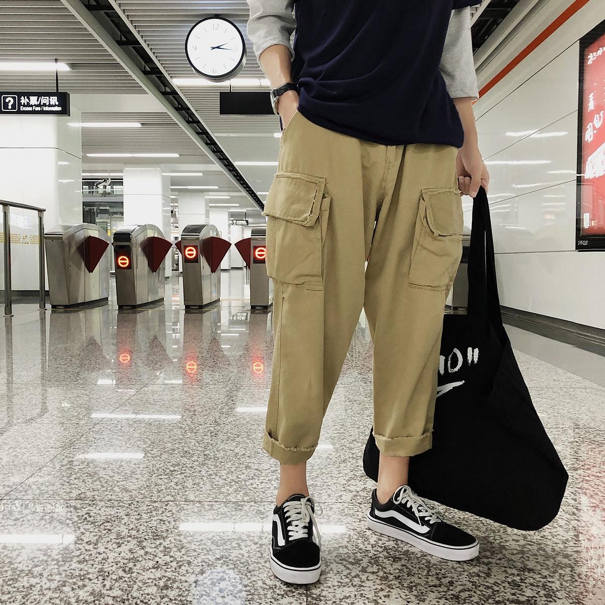 Solide 2xl Lâche Poche M Taille Casual Mâle Lié Automne Mode Droites khaki Cargo Coton 2018 Pantalon Couleur Élastique Black Pieds Hommes qUwf1I4X