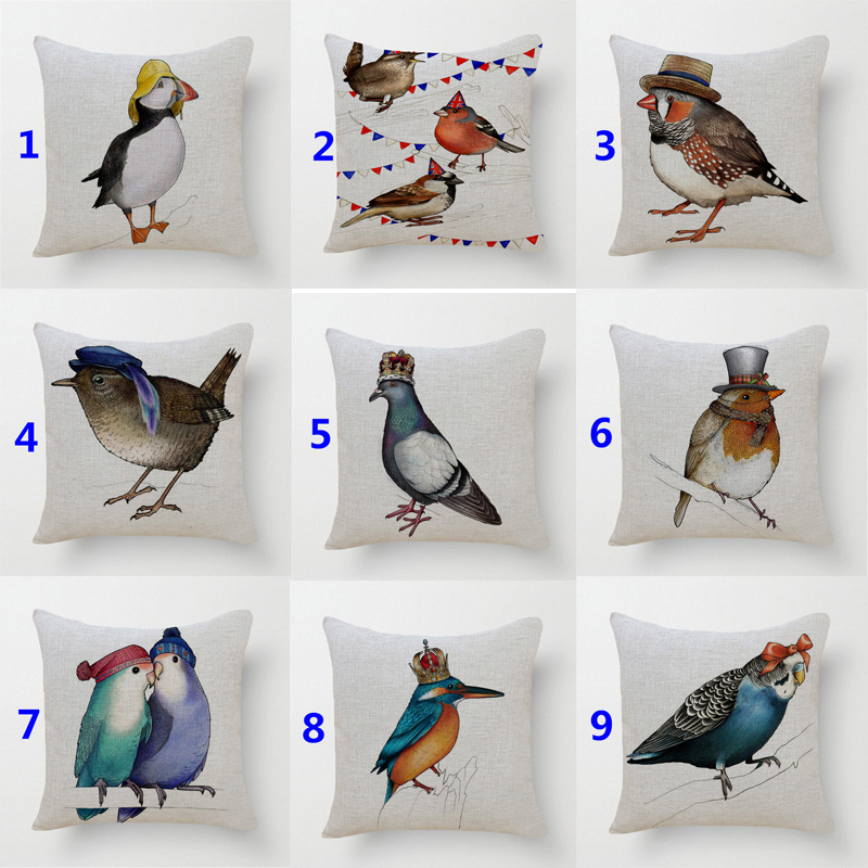 18 Square lovely birds printed decorative throw pillow cushion covers case for sofa home decor almofada funda cojines in stock