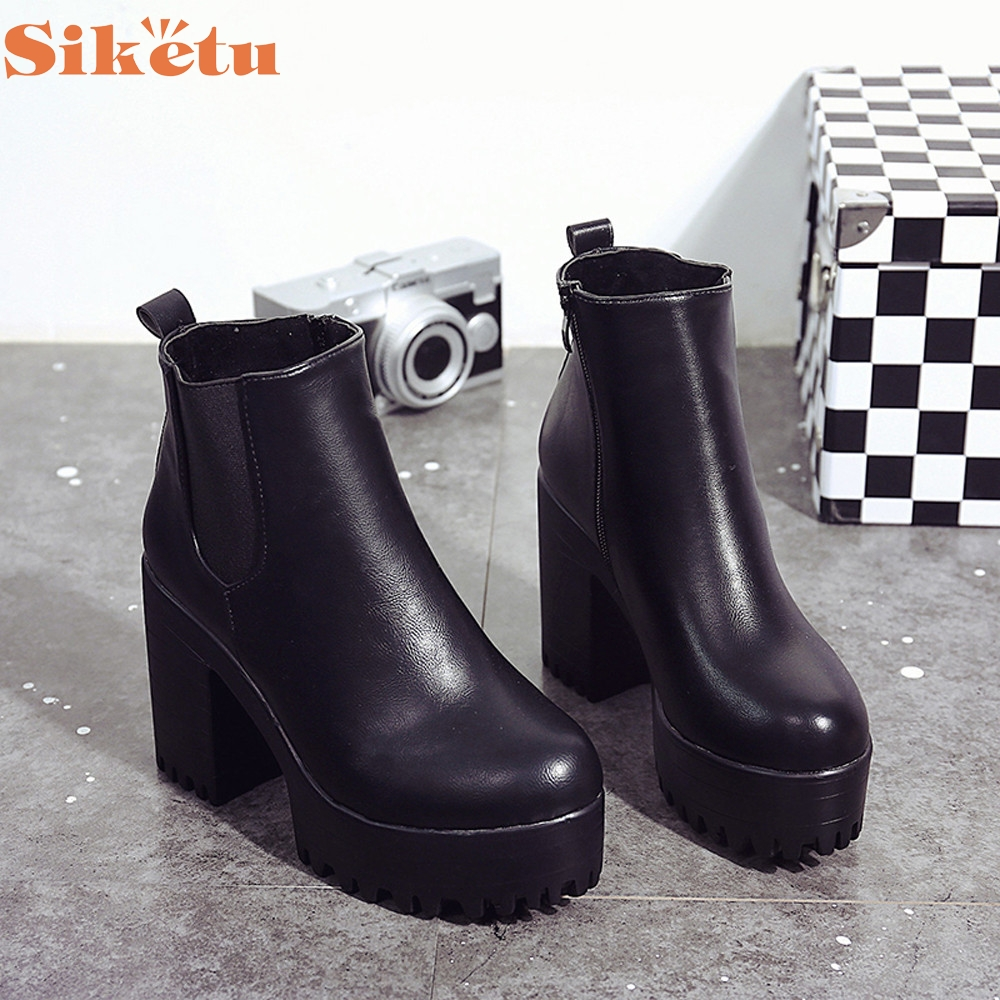 Women Boots Square Heel Platforms Leather Thigh High Pump Boots Shoes LFY111