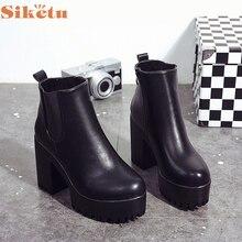 Frauen Stiefel Platz Heel Plattformen Leder Oberschenkel Hohe Pumpe Stiefel Schuhe LFY111