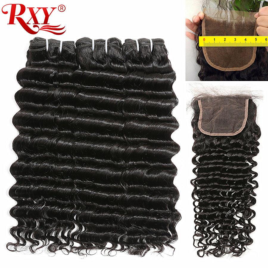 Deep Wave Bundles With Closure 5x5 Lace Closure RXY Brazilian Human Hair Weave Bundles With Closure