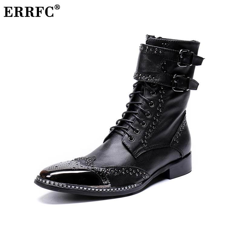 Designer Alta Med Rebites Errfc Punk Moda Top Botas Charme Sapatos Martin Mens Preto Do De Bracelete Homem Couro 1ddwSYq