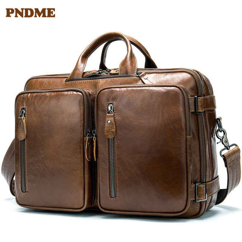 PNDME Vintage High Quality Genuine Leather Business Men's Briefcase Designer Multi Function Large Capacity Travel Laptop Bags