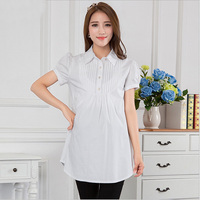 Casual Summer LOng Short Sleeve Women Maternity Shirts White Solid Cotton Trun down Collar Pregnant Blouse Pregnancy Clothes Top