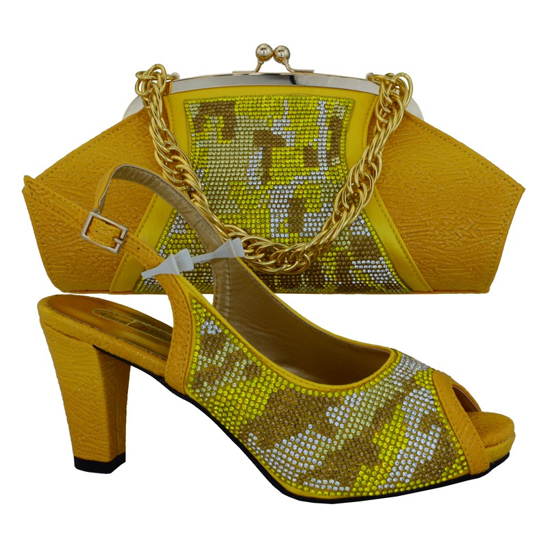Nigeria Wedding Shoes And Matching Bag Set With Rhinestones Fashion African Italian Shoes And