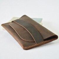 Genuine Leather Men Long Wallet Slim Purse Male Vintage Card Holder Crazy Horse Handmade Designer Wallet Men High Quality
