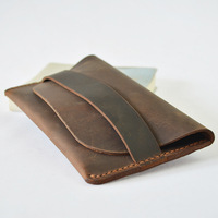 Genuine Leather Men Long Wallet Slim Purse Male Vintage Card Holder Crazy Horse Handmade Designer Wallet