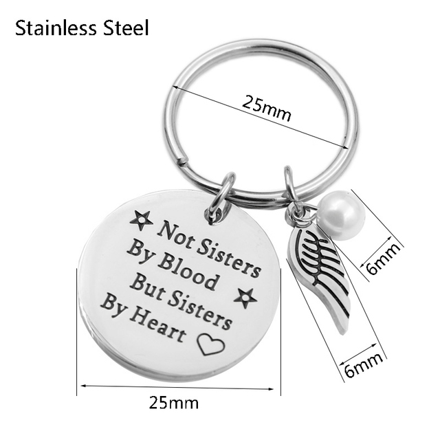 "VILLWICE Best friends keychain keyring ""not sisters by blood but sisters by heart"" friendship jewelry gift for women girls 5"