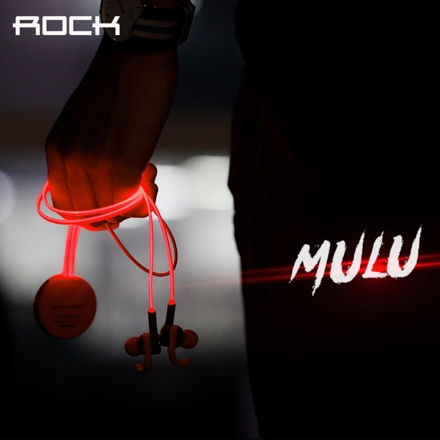Rock mulu flash led bluetooth auriculares 3.5mm auriculares deportes reproductor de mp3, en la Oreja los Deportes Bluetooth 4.0 Auricular