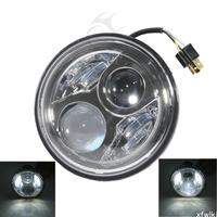 Chrome 7 LED Headlight Lamp For Honda CB400 500 1300 Hornet 250 600 900 VTR