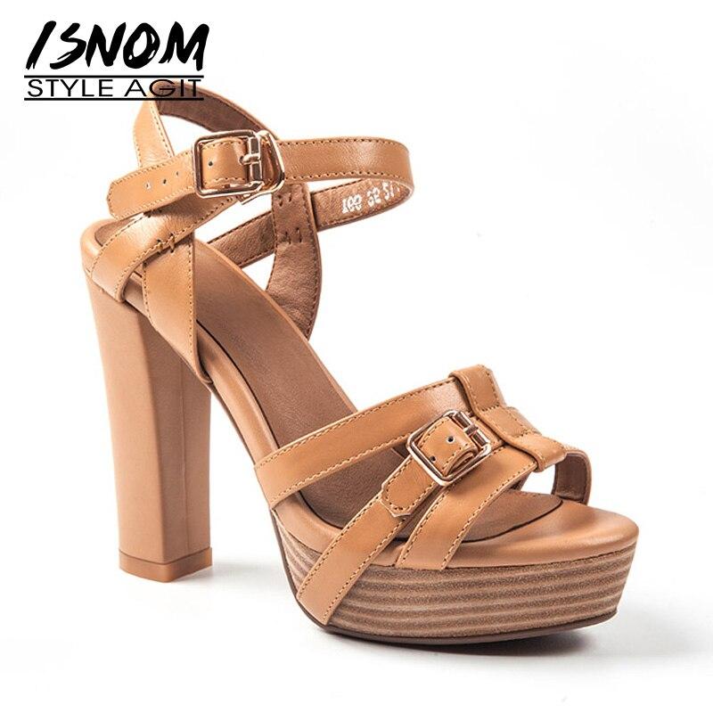 Ayakk.'ten Yüksek Topuklular'de ISNOM Gladoiator platform sandaletler Kadın Yüksek Topuklu Yaz Sandalet Kadın 2019 Hakiki deri ayakkabı Kadın Açık Ayak Strappy Ayakkabı'da  Grup 1