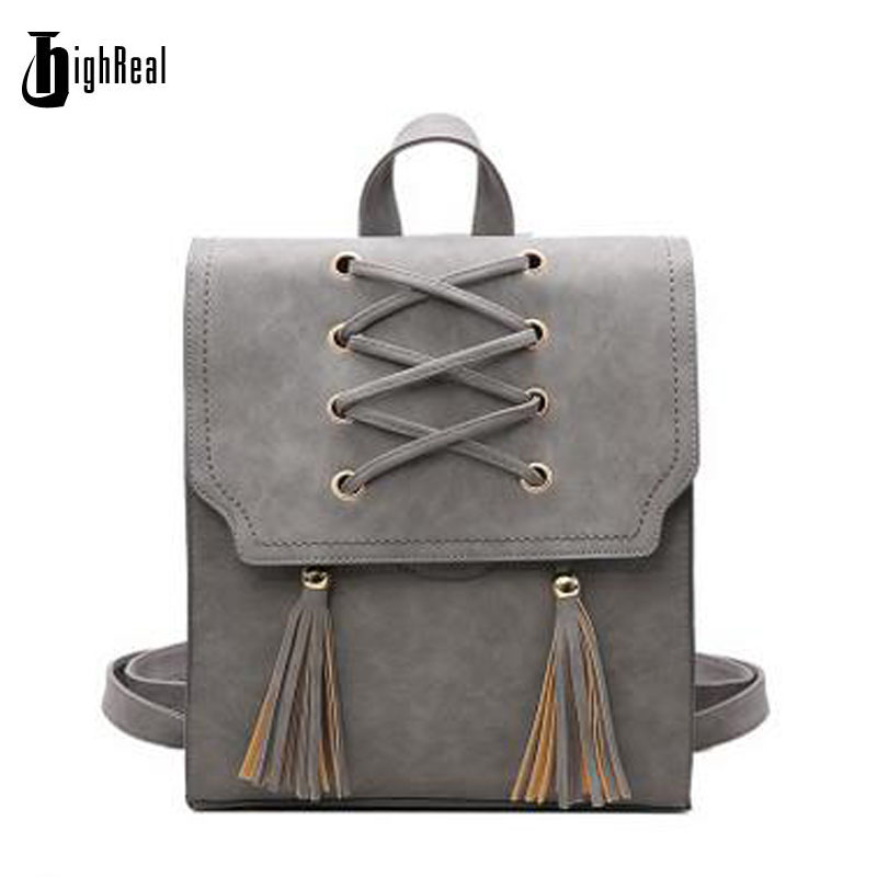 HIGHREAL New Fashion Backpack Tassel Women Backpack PU Leather School Bag Women Casual Style A4 Paper