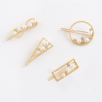 Korea Pearl Geometric Hairpin Women Girls Hair Clip Barrette Hairgrip Hair Styling Tools For Women Girls Accessories Headdress 2019 fashion pearl hair clip women hairpin girls hairpins barrette headwear hairgrip hair accessories dropship new arrival