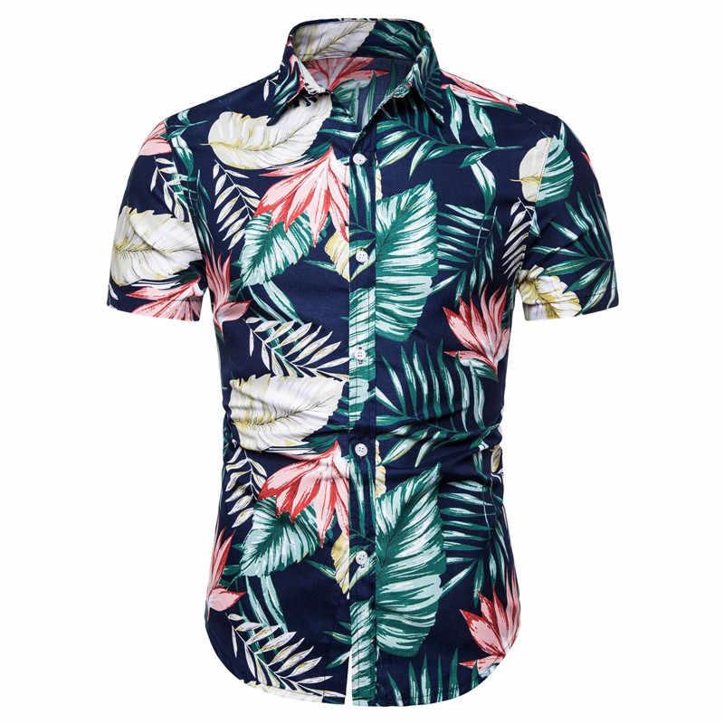 Мужская гавайская рубашка летние с коротким рукавом тропические Цветочные пуговицы вниз пляжные вечерние рубашки хлопок плюс размер рубашки мужские s Топы