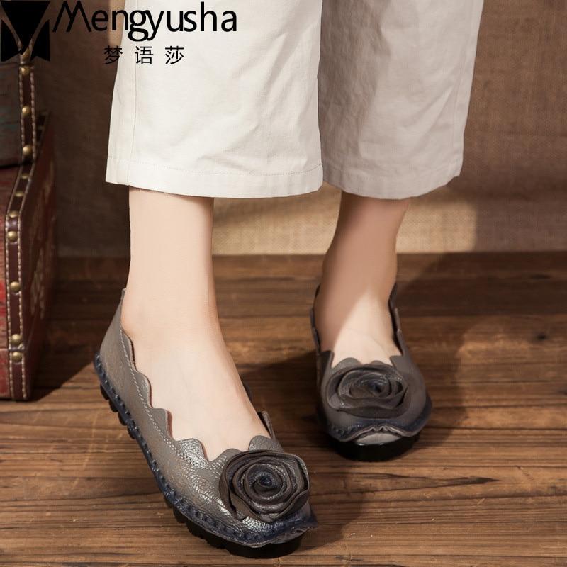 Klasszikus etnikai női kézzel készített cipő valódi bőr lapos - Női cipő