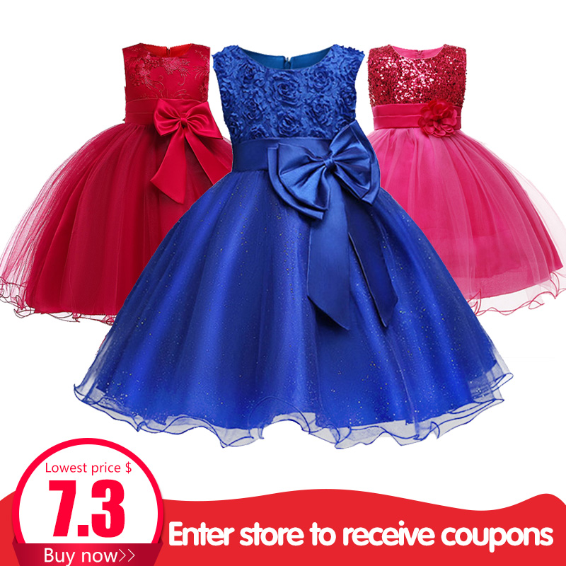 Girl Floral Princess Party Costume Girls Dress Kids Dresses For Girls Summer Children Clothing Vestido Tutu 2-10 Y Baby Clothes