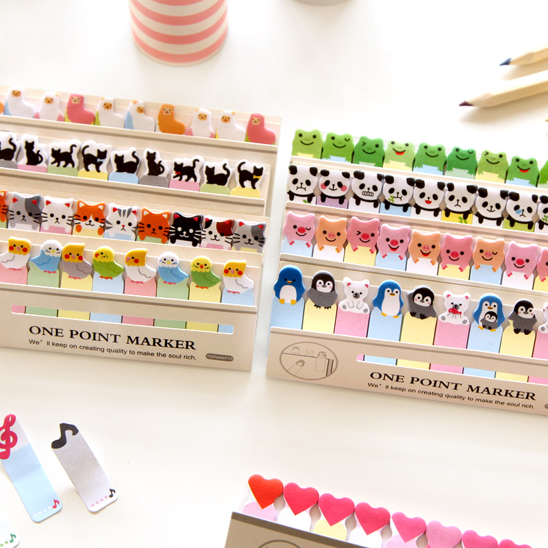 6 pcs Cartoon animal memo paper post One point marker decorative sticky note it stationery items office School supplies A6783 image