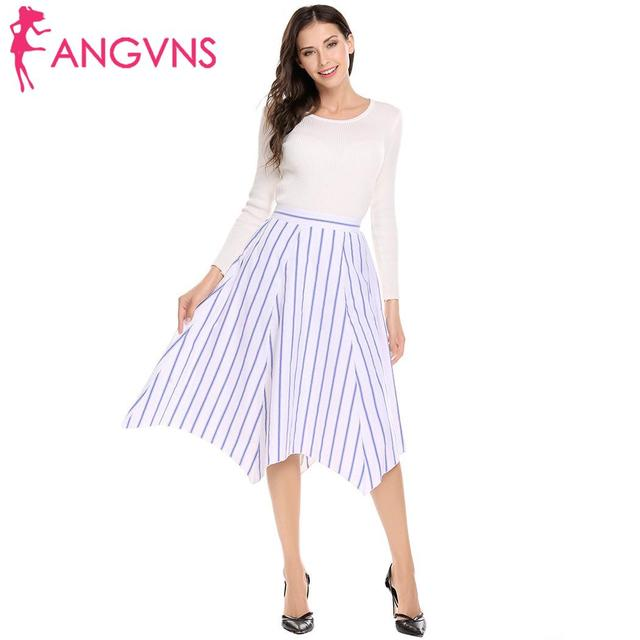 ANGVNS Vintage Striped Women Casual High Elastic Waist Pleated Knee-Length