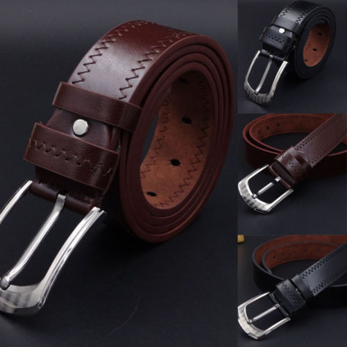 2018 Leather Mens Belt Belts Real New Genuine Buckle Trouser Sizes Brown Black Hot