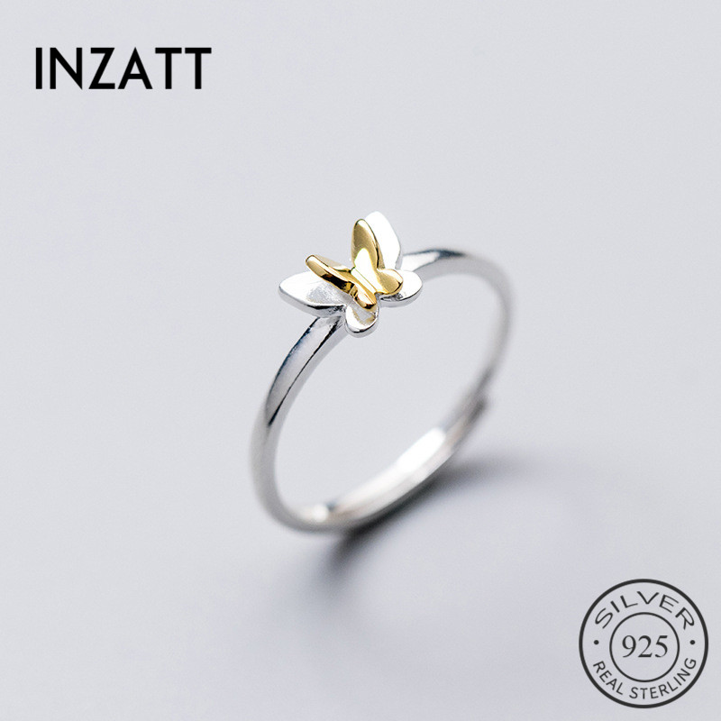 INZATT New Adjustable Real 925 Sterling Silver Ring Cute Colorful Butterfly Romantic Women Fine Jewelry For Girls Kids Lady Gift