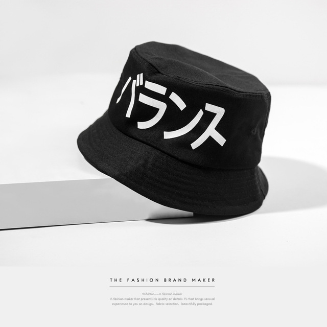 3c275a1b01b0e Japanese Style retro bucket hat men and women lovers letters print black cap  Hip Hop ourdoor Bob Chapeau 1280