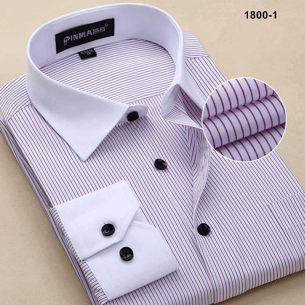 Новое поступление, брендовые высококачественные мужские полосатые рубашки с длинным рукавом, мужские деловые официальные рубашки, рубашки для мужчин - Цвет: 18001