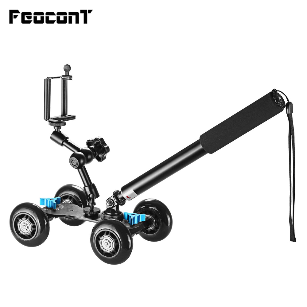 Camera Dolly Kit Mobile Rolling Sliding Slider Dolly Stabilizator Skater Slider, Monopod de mână ținut, 7 inci reglabil Friction Magic Arm
