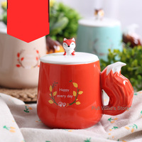Lovely forest small animal ceramic mug Hand drawn Fox Squirrel Raccoon Milk cup Large tail handle