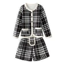 цена на Clothes For Children 2019 Autumn Winter Girls Clothing Set Long-Sleeved Plaid Cardigan+Shorts Suit Blazer Ensemble Enfant Fille