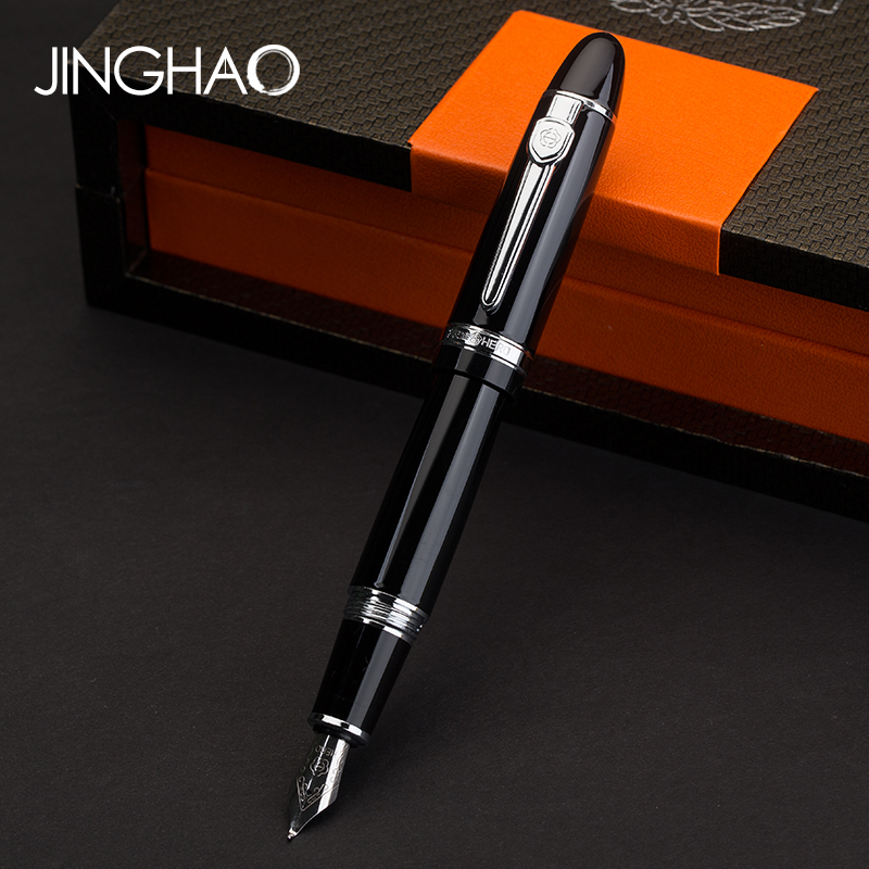 Hero Screw Silver Clip 0.5mm Fountain Pen/1.0mm Bent Nib Art Calligraphy Pen Thick Black Ink Pens with an Original Gift Box most popular duke confucius bent nib art fountain pen iraurita 1 2mm calligraphy pen high end business gift pens with a pen case
