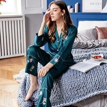 Silk Pajama Sets Female Spring Summer New Faux SILK Sleepwear Woman Rose Flower Long-Sleeve Nightwear 2-Pieces X9102