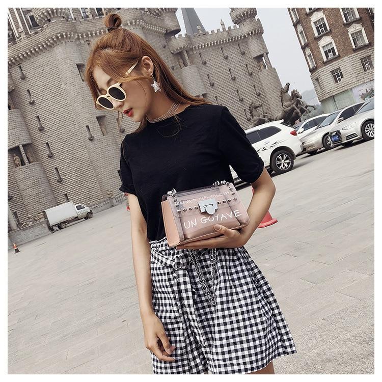 18 Summer Fashion New Handbag High quality PVC Transparent Women bag Sweet Printed Letter Square Phone bag Chain Shoulder bag 12