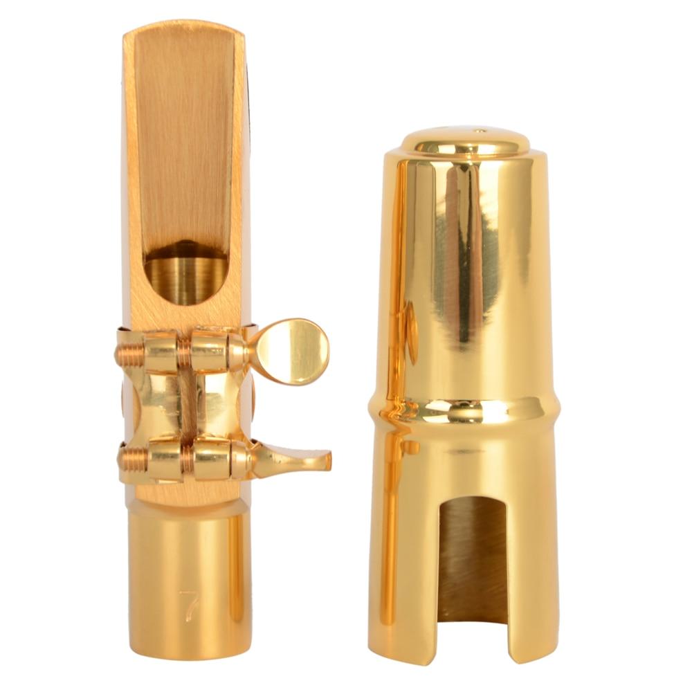 Nouveau professionnel A2 plaqué Alto Saxophone métal embout Cap Ligature or #7 et accessoires + + +