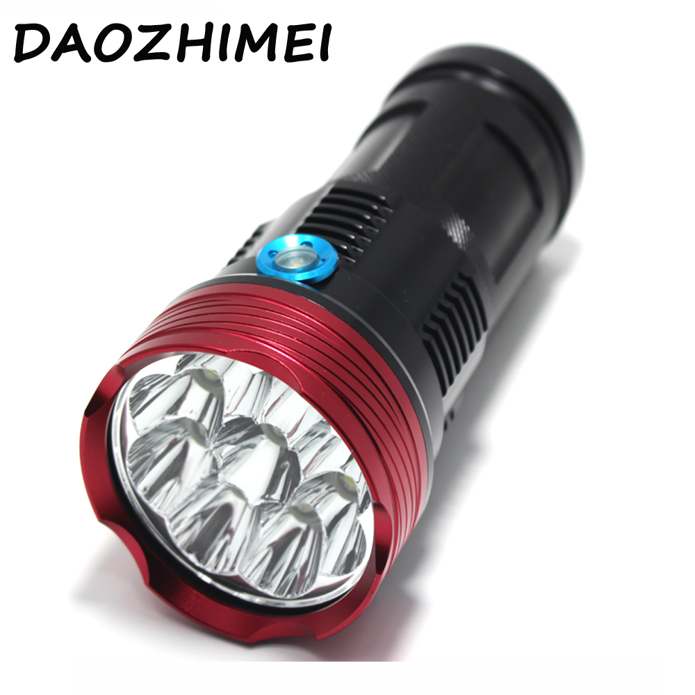 23000lm Powerful Xm-L - 11* T6 led flashlight Tactical waterproof Torch lighting light lamp Lantern +18650 Battery + Charger rechargeable 2000lm tactical cree xm l t6 led flashlight 5 modes 2 18650 battery dc car charger power adapter