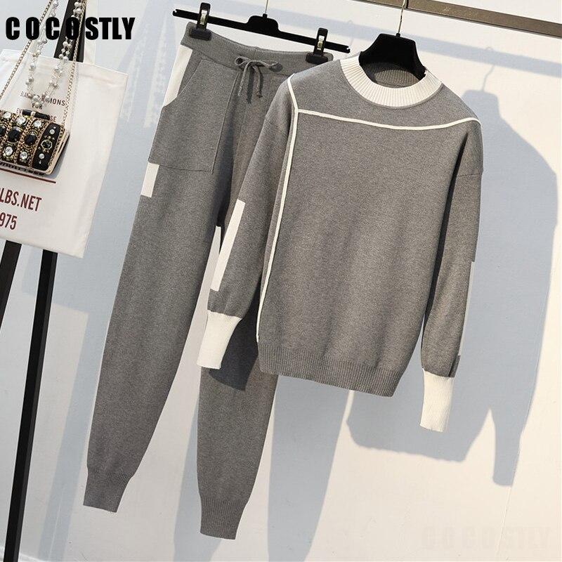 Комплект из 2 предметов, женские вязаные пуловеры, свитер с эластичной резинкой на талии, брюки карандаш, костюмы, зимние спортивные костюмы, женские комплекты из двух предметов, одежда