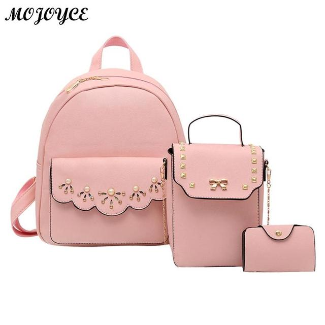 415be5de33e9 3 Pcs Set Simple Women PU Leather Backpacks Girls Backpack Beads Rivets  Sling Messenger Card