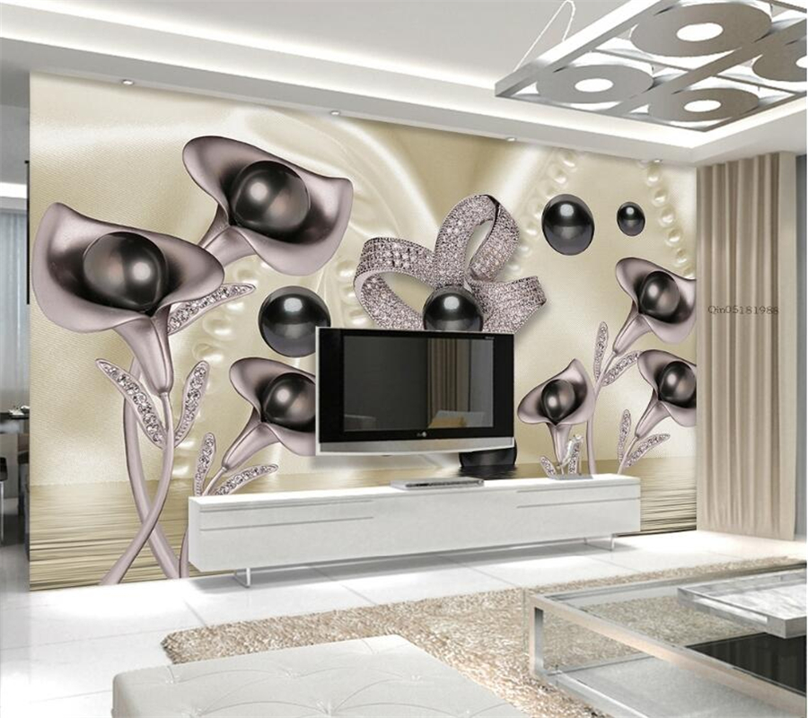 Beibehang Custom wallpaper 3d calla butterfly water wave reflection television background wall living room bedroom 3d wallpaper