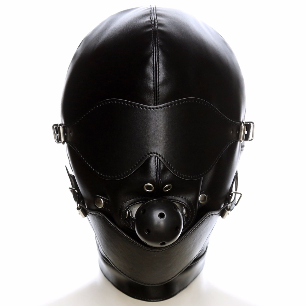 PU leather Fetish mouth gag harness headgear hood eye mask head cover bondage restraint adult costume SM sex game toy for couple