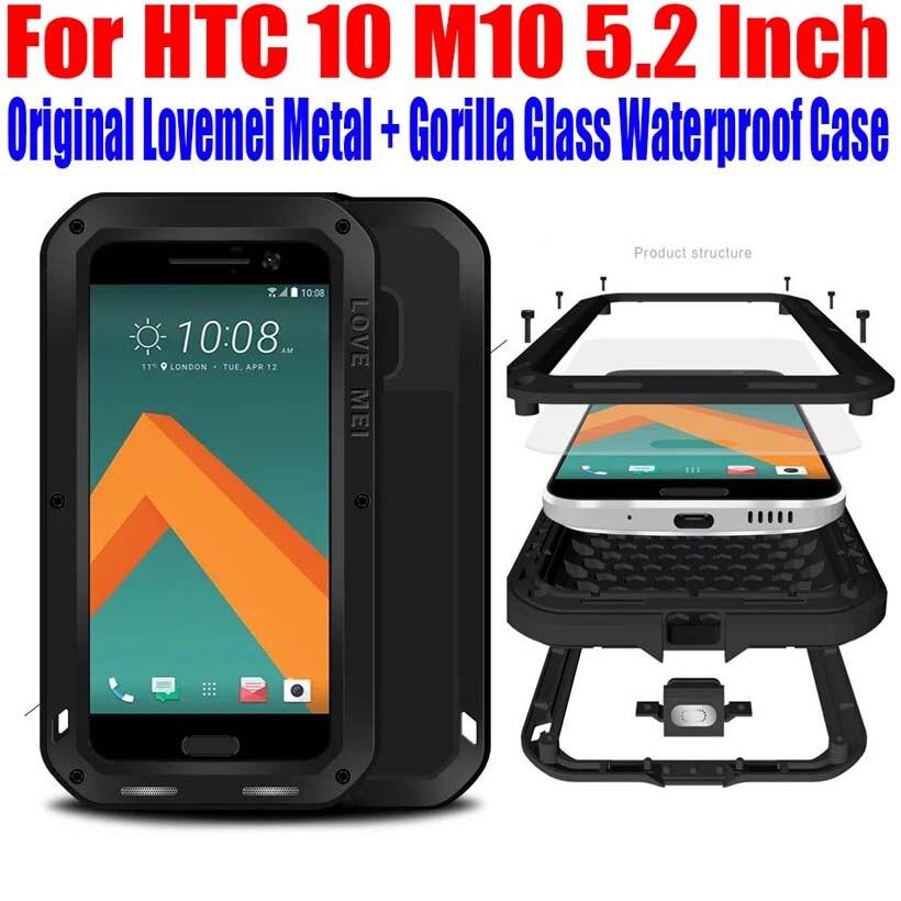 Цена за Для HTC 10 M10 5.2 дюймов оригинальные Lovemei Алюминий Металл + Gorilla Glass шок падения водонепроницаемый чехол для HTC 10 M101
