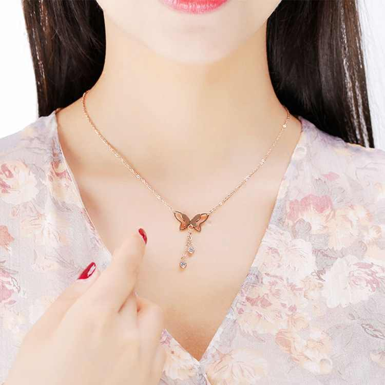 Version of the rose gold butterfly necklace crystal from Bulgaria short paragraph bead tassel pendant simple personality