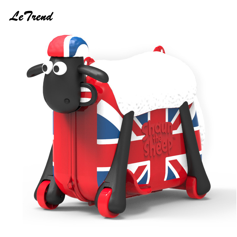 New Fashion Cute Cartoon Sheep Shape Kids Ride-on Trolley Suitcase Solid Children Carry On Spinner Rolling Luggage Travel Bag new fashion style cute toy motorcycle shape kids children rolling luggage boy and girl trunk trolley case travel box suitcase