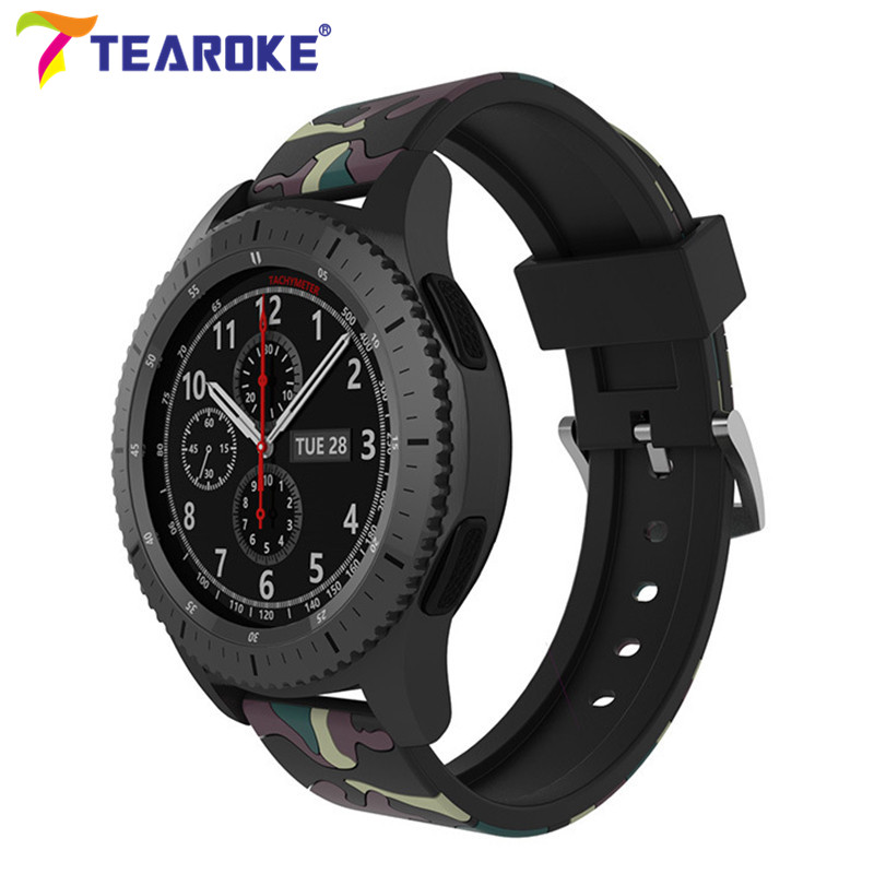 все цены на 20mm 22mm Camo Silicone Watchband for Samsung Gear S2 S3 Classic Frontier Replacement Bracelet Band Strap for Gear Sport SM-R732