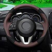 GNUPME Artificial Leather Steering Cover Black Car Steering Wheel Cover for Mazda CX 5 CX5 Atenza 2014 New Mazda 3 CX 3 2016