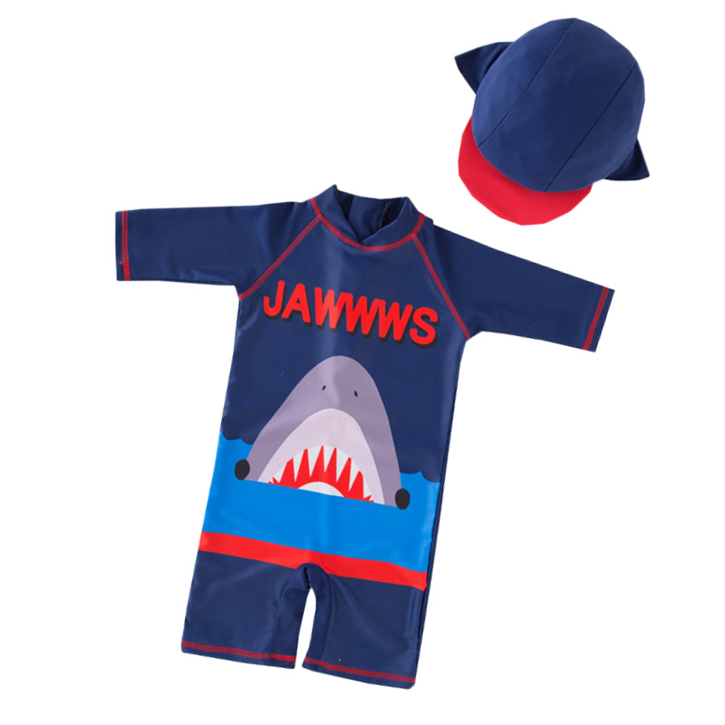 5981b2232f043 Baby Boy Fashion Shark Cartoon 2019 Swimsuit 2-6T Quick Dring Wetsuit  Conjoined New Style