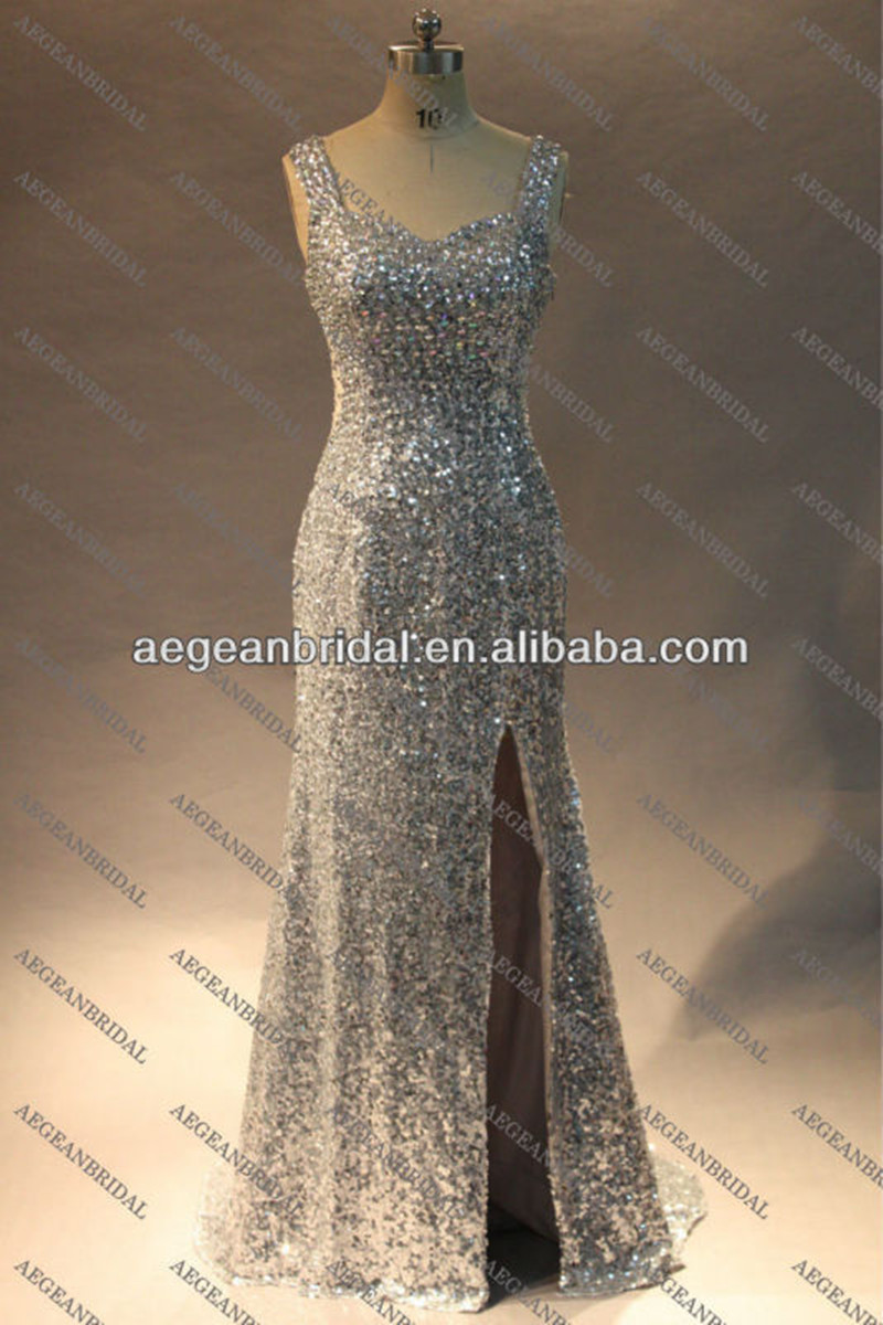 R120313 Silver Shimmer Sequin See Through Open Back