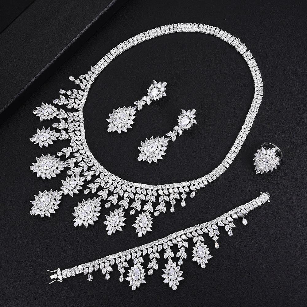 GODKI Super Luxury 4PCS Tassel Dubai Necklace Jewelry Sets For Women Wedding Zircon Crystal CZ Indian African Bridal Jewelry Set